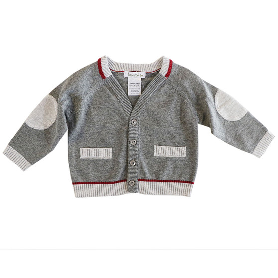 Beanstork Knit 2 Tone Grey & Burgandy Cardigan (Sizes 3 - 12 Months)