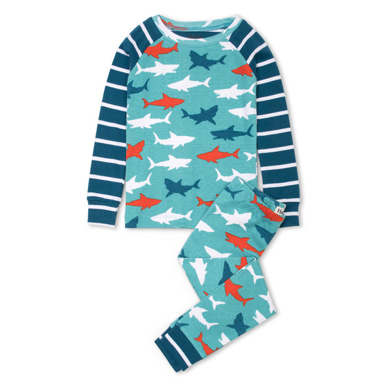 Hatley Great White Sharks Organic Cotton Raglan Pyjama Set (Sizes 2 & 3 Years)