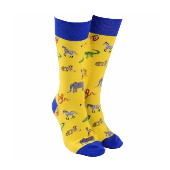 Sock Society Safari Socks - Yellow with Blue (One Size Fits Most Adults)