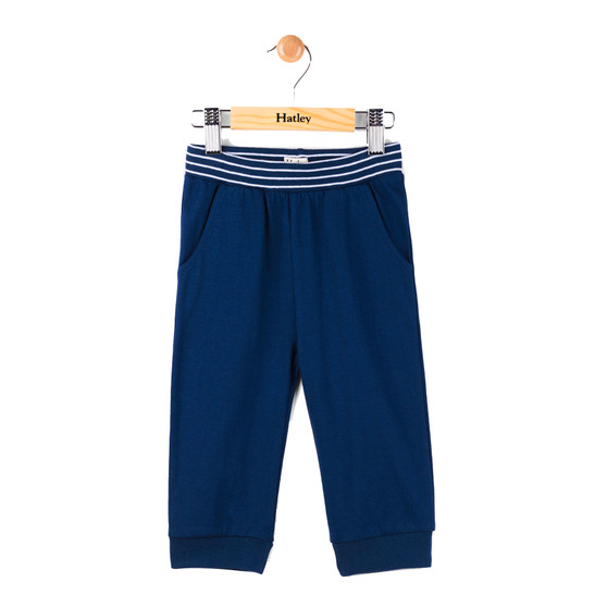 Hatley Navy Striped Waistband Track Pants (Size 9-12m Sample)