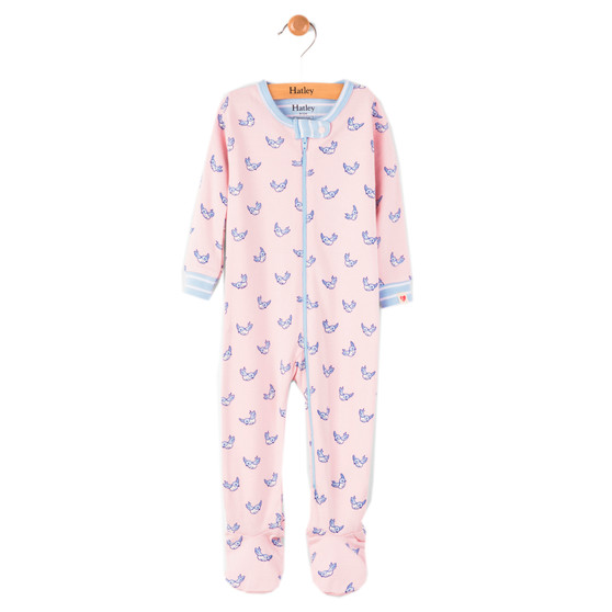 Hatley Light Pink Tiny Sparrows Footed Coverall (Size 9-12m Sample)