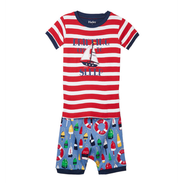 Hatley Distressed Buoys Appliqué Organic Cotton Short Pyjama Set (Sizes 2, 3 & 7 only) Years)