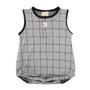 Turtledove Organic Cotton Ultra Stretch Grey with Square Print Summer Playsuit (Sample Size 0-6 Months)