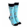 Sock Society Aussie Animals Socks - Aqua with Black (One Size Fits Most Adults)
