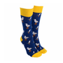 Sock Society Seagulls Socks - Navy with Yellow (One Size Fits Most Adults)