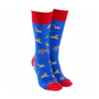 Sock Society Safari Socks - Blue with Red (One Size Fits Most Adults)