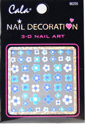 Cala Aqua Blue Daisies 3D Nail Decal