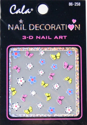 Cala Multicolored Flowers & Butterflies 3D Nail Decal