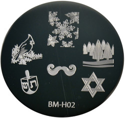 Bundle Monster Image Plate BM-H02: Snowflake, Bird, Jewish