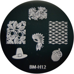 Bundle Monster Image Plate BM-H12: Hat, Acorn, Full Nail, Thanksgiving