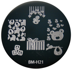 Bundle Monster Image Plate BM-H21: Baby, Stork, Present, Full Nail