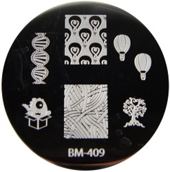 Bundle Monster Image Plate #BM-409: Bundle Monster, Balloons, Tree, Full Nail