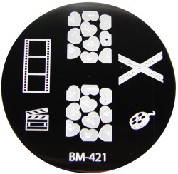 Bundle Monster Image Plate #BM-421: Film, Caution, Full Nail, Hearts