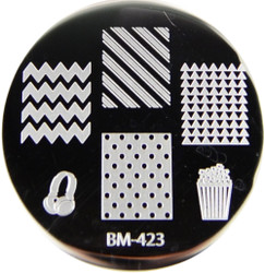 Bundle Monster Image Plate #BM-423: Popcorn, Headset, Full Nail