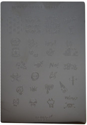 Konad Nail Art Square Image Plate #04: Skulls, Cross, Monsters, Words, etc