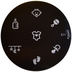 Konad Nail Art Image Plate #S11 (Baby, Rattle, Feet, Bottle)