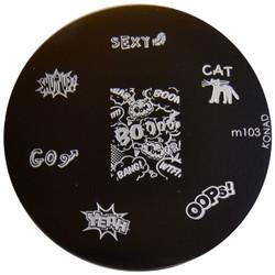 Konad Nail Art Image Plate #M103 (Sexy, Cat, Oops, Boom, Comics)