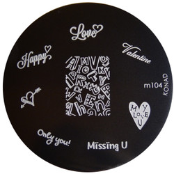 Konad Nail Art Image Plate #M104 (Words, Love, Valentines)