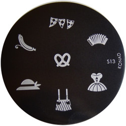 Konad Nail Art Image Plate #S13 (Pretzel, Dress, Lederhosen, Accordian)