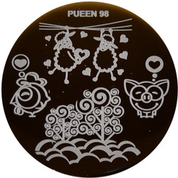 Image Plate Pueen #98: Sheeps, Pigs, Hearts, Full Nail