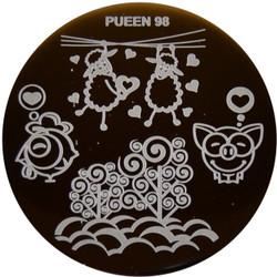 Image Plate Pueen #98: Sheeps, Pigs, Hearts, Full Nail