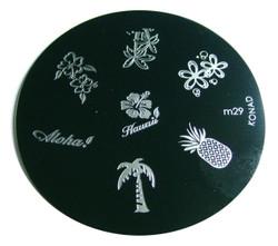 Image Plate #M29 (Hawaii, Pineapple, Tree, Flower) by Konad Nail Art