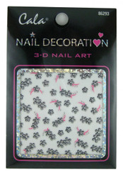 Black & Silver Flowers Nail Decal by Cala