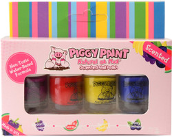 Piggy Paint for Kids 4 pc Fruity Scented Polish Mini Set