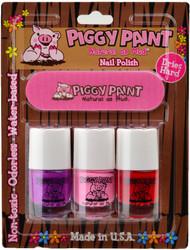 Piggy Paint for Kids Groovy Grape, Pinkie Promise & Sometimes Sweet 3 pc Mini Set w/ Nail File