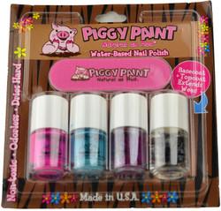 Piggy Paint for Kids 3 pc Colours Polish + 1 pc Base & Topcoat Mini Set w/ Nail File