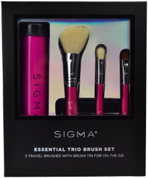 Sigma Beauty 3 pc Essential Trio Brush Set with Travel Brush Tin (Pink)