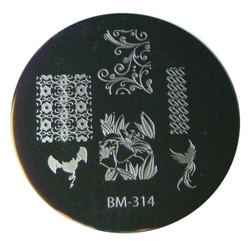 Bundle Monster Image Plate #BM-314: Full Nail, Flowers, Animals, Bird