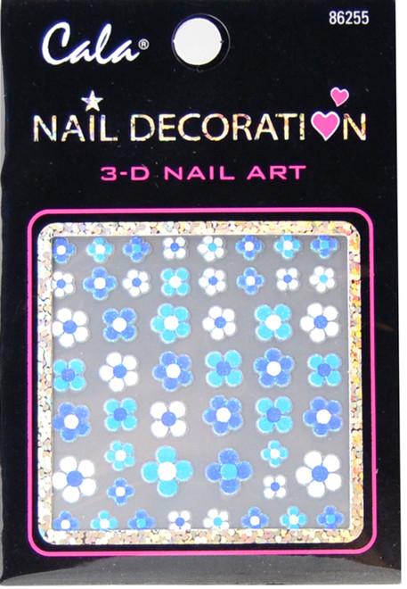 Cala Aqua Blue Daisies 3D Nail Decal