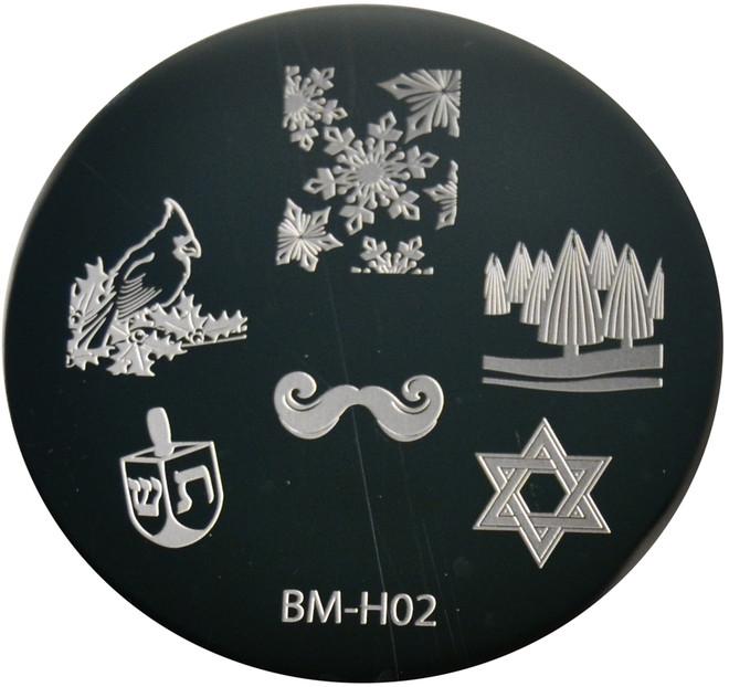 Bundle Monster Image Plate BM-H02: Snowflake, Bird, Jewish