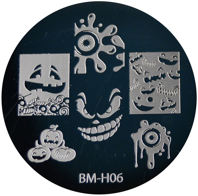 Bundle Monster Image Plate BM-H06: Pumpkin, Ghost, Full Nail, Halloween