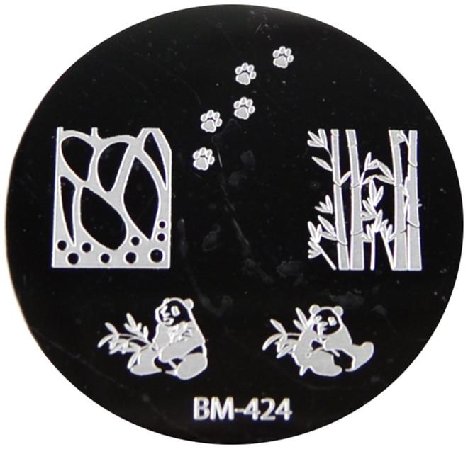 Bundle Monster Image Plate #BM-424: Pandas, Bamboo, Full Nail, Paws