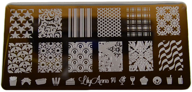 Lily Anna Image Plate #LA14: Full Nail, Stars, Plaid, Snowflakes, Food
