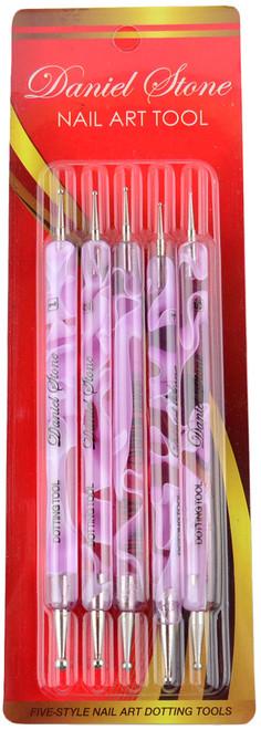 Daniel Stone 5 Piece Pink Nail Dotters, 10 Dot Sizes