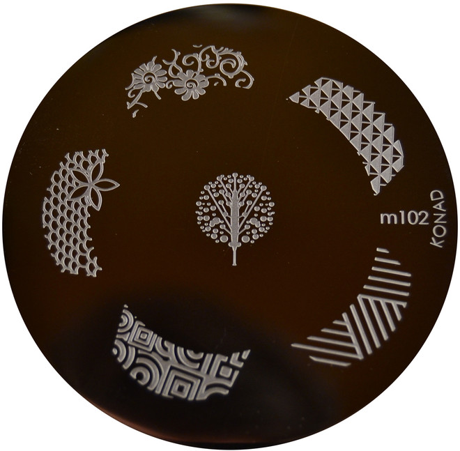 Image Plate #M102 (Nail Tips, Flowers, Swirls) by Konad Nail Art