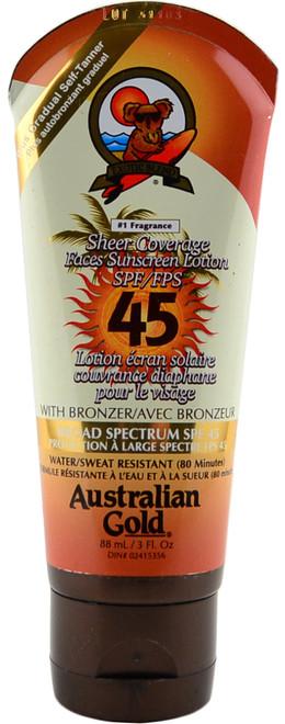 Australian Gold Sheer Coverage Faces Sunscreen Lotion w/ Bronzer SPF 45 (3 fl. oz. / 88 mL)