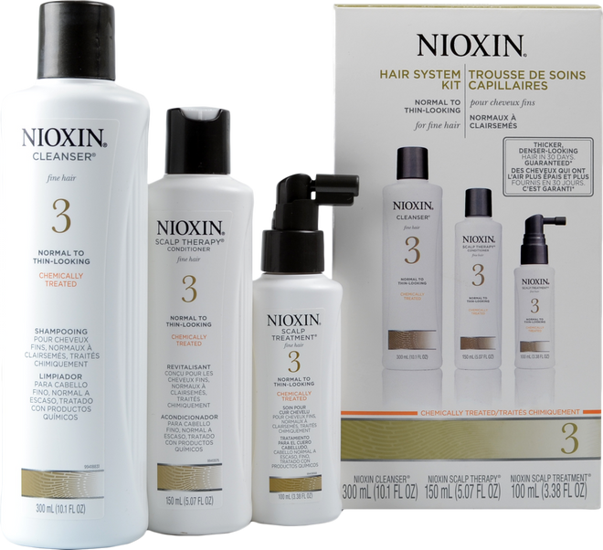 Nioxin #3 Hair System Kit - Chemically Treated, Normal To Thin Looking, Fine Hair ()
