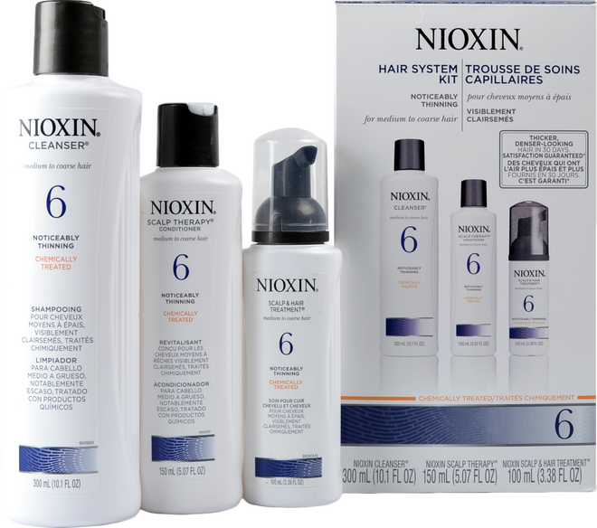 Nioxin #6 Hair System Kit - Chemically Treated, Noticeably Thinning, Medium To Coarse Hair ()