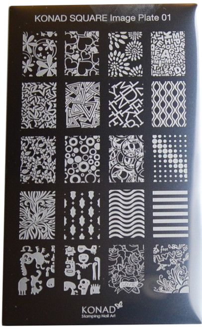 Konad Nail Art Square Image Plate #01: Full Nail, Flowers, Circles, Monsters, etc