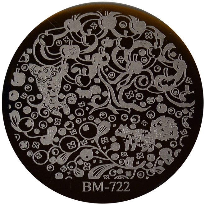 Bundle Monster Image Plate #BM-722: Full Nail, Apples, Berries, Nuts, Squirrel
