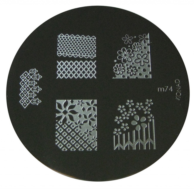 Image Plate #M74 (Full Nail, Lattice, Flowers) by Konad Nail Stamping