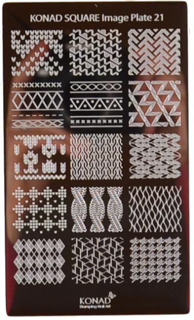Konad Nail Art Square Image Plate #21: Patterns, Waves, Knit Patterns, etc