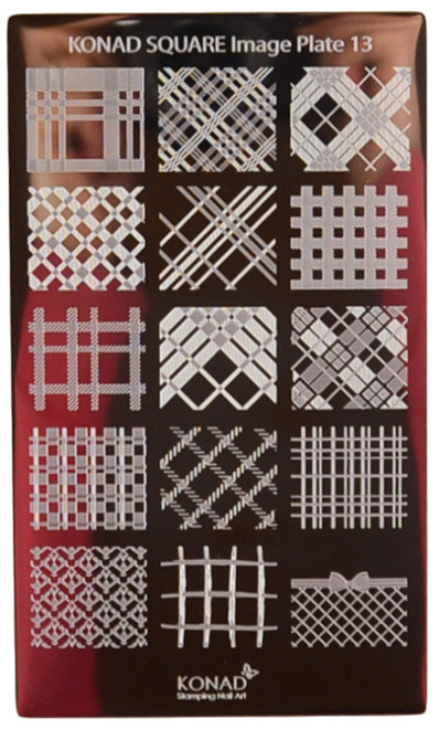 Konad Nail Art Square Image Plate #13: Cris-Cross, Diamond Cross Patterns, etc