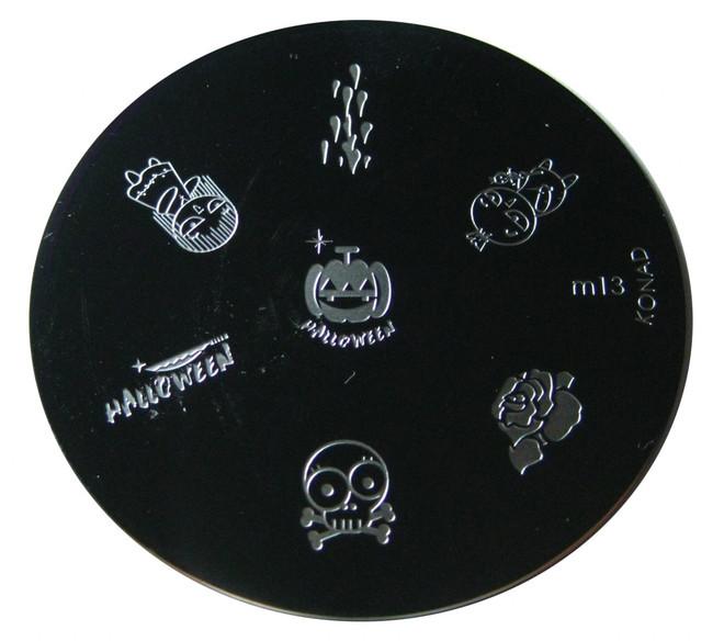 Image Plate #M13 (Halloween, Skull, Pumpkin, People) by Konad Nail Art
