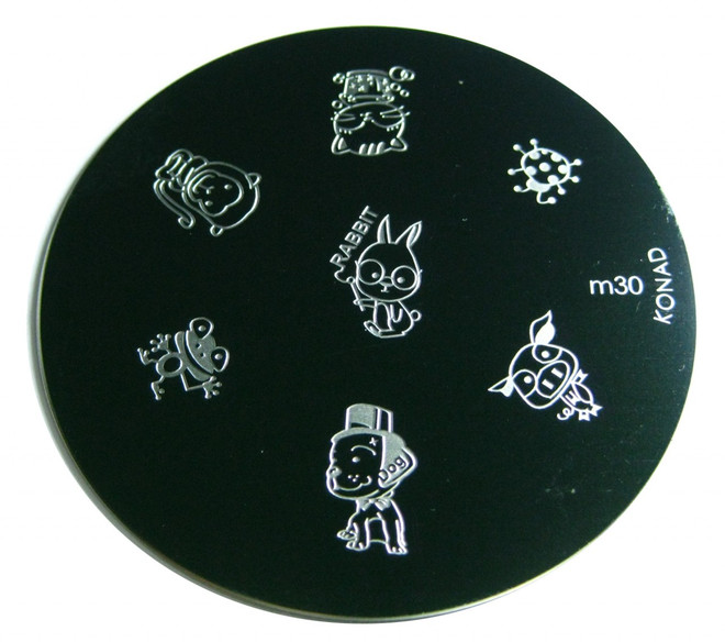 Image Plate #M30 (Animals, Dogs, Frog, Cat, Pigs) by Konad Nail Art