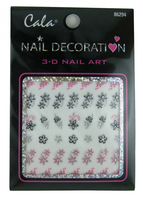 Glitter Flowers Nail Decal by Cala